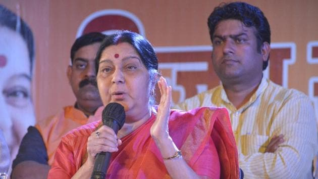 External affairs minister Sushma Swaraj's wit was on full display on Twitter on Wednesday as she responded to Twitterati and helped them out with their various problems. (Photo by Sakib Ali /Hindustan Times)