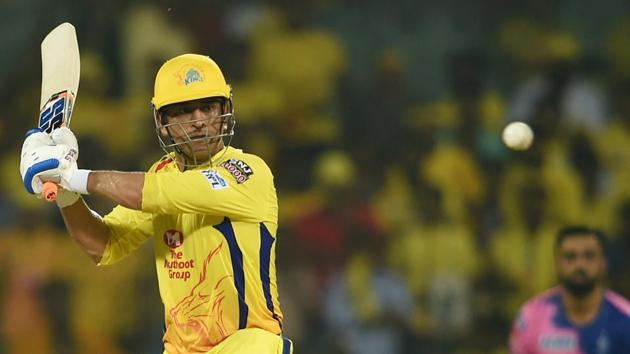 CSK skipper MS Dhoni in action against Rajasthan Royals.(PTI)