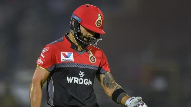 Jaipur: RCB batsman Virat Kohli returns upon his dismissal during the Indian Premier League (IPL T20 2019) cricket match between Royal Challengers Bangalore (RCB) and Rajasthan Royals( RR)(PTI)