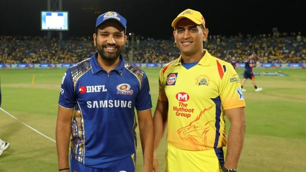 File photo of Rohit Sharma, captain of Mumbai Indians, and Mahendra Singh Dhoni, captain of Chennai Super Kings.(BCCI Photo)