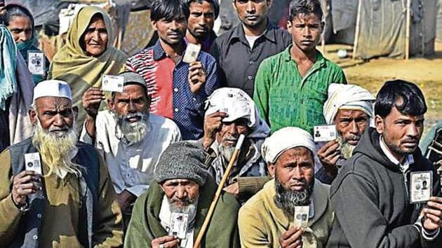 Victims of the 2013 Muzaffarnagar riots at a resettlement colony in Kairana. The violence gutted communal harmony in the region that had lent political weight to the RLD.(HT FIle Photo)