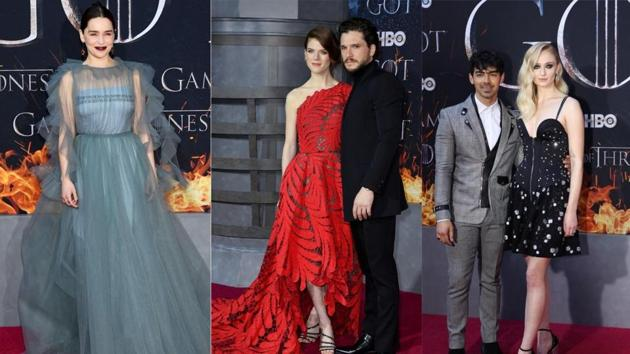 Emilia Clarke, Kit Harington with wife Rose Leslie, and Sophie Turner with fiancee Joe Jonas at the Game of Thrones premiere(AFP/Reuters)