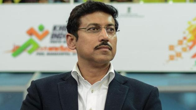 Olympian Rajyavardhan Rathore, 48, was a known face when he joined the BJP in 2013 after taking voluntary retirement from the Indian Army.(HT file Photo)