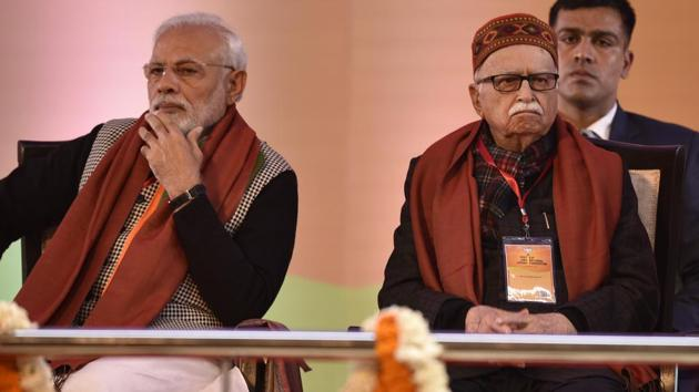 Prime minister Narendra Modi along with senior BJP leader L.K. Advani seen on the first day of BJP National Executive Meet, at Ramlila Maidan, in New Delhi, India, on Friday, January 11, 2019.(Raj K Raj/HT FILE PHOTO)