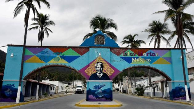 The entrance to Islas Marias federal prison at Isla Maria Madre in the Pacific Ocean, about 120 km off the coast of Nayarit state, Mexico.(AFP)
