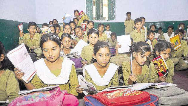 Our current school curriculum is purely academic in nature and assumes that all those who complete the compulsory stage of elementary education will continue on to secondary and then to higher education.(Sakib Ali /Hindustan Times)