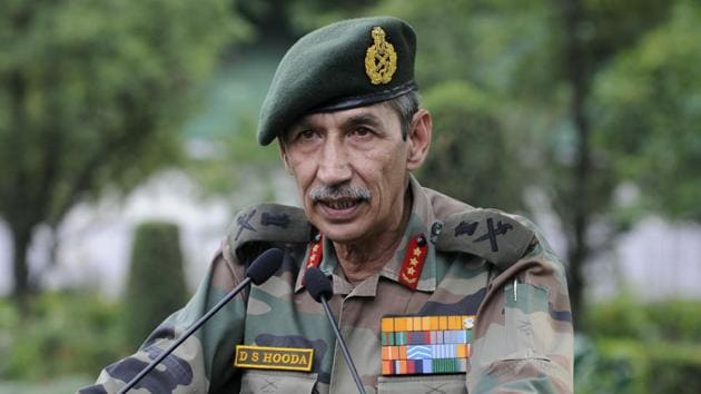 Northern Army Commander Lieutenant General D S Hooda(Photo by Waseem Andrabi / Hindustan Times))