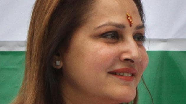 Actor-turned-politician Jaya Prada, BJP candidate from the Rampur Lok Sabha constituency(HT)