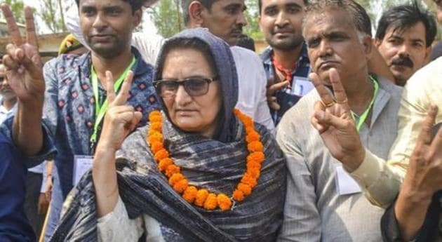 Rashtriya Lok Dal (RLD) candidate Tabassum Hasan with her supporters outside a counting centre after winning the Kairana Lok Sabha by-elections in Kairana May 2018.(PTI file photo)