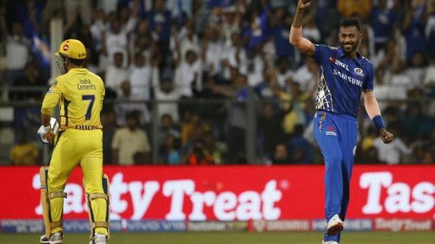Mumbai Indians Hardik Pandya, right, celebrates the dismissal of Chennai Super Kings Mahendra Singh Dhoni, left, during the VIVO IPL T20 cricket match between Mumbai Indians and Chennai Super Kings in Mumbai, India, Wednesday, April 3, 2019.(AP)