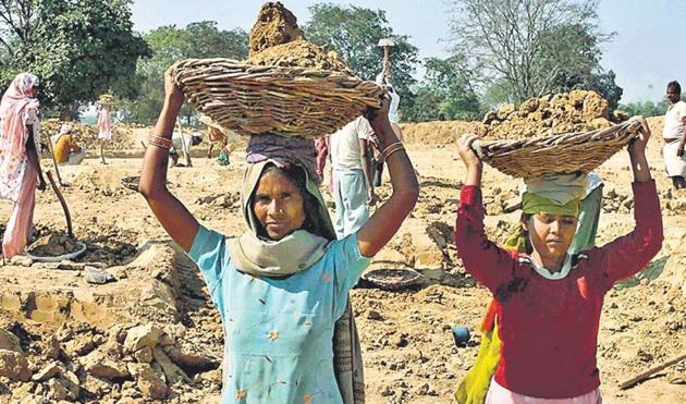 There is a case for studying how employment guarantee programmes such as the MGNREGA can be strengthened by ensuring livelihoods to those who are in the greatest need and focusing on creation of durable assets that are of value to the poor(HT Photo)