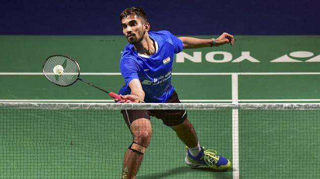 Srikanth Kidambi plays a shot against Chinese Huang Yuxiang.(PTI)