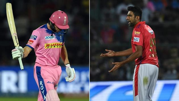 (COMBO) This combination of file pictures created on March 26, 2019 shows (L) Rajasthan Royals' Jos Buttler walking back to the pavilion after he was dismissed by Kings XI Punjab's Ravichandran Ashwin during the 2019 Indian Premier League(AFP)
