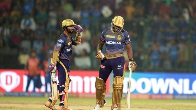 File image of Dinesh Karthik, Andre Russell(AFP)