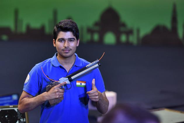 Indian shooter Saurabh Chaudhary won the gold in the final 10 meter Air Pistol, during ISSF World Cup, at Karni Singh Shooting Ranges, in New Delhi, India, on Sunday, February 24, 2019.(Burhaan Kinu/HT PHOTO)
