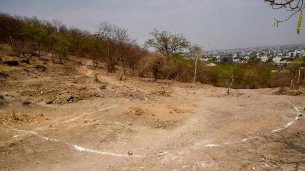 As a part of the Pune Municipal Corporation's (PMC) 24/7 water supply project, the civic body has decided to construct two water tanks at Vetal tekdi hills.(Sanket Wankhade/HT PHOTO)