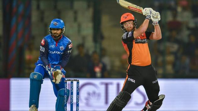 New Delhi: SRH player Jonny Bairstow plays a shot against DC(PTI)
