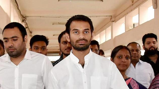 Tej Pratap has been in a rebellious mood after his demand to field his chosen candidates in a couple of seats was ignored by the party.(PTI PHOTO)