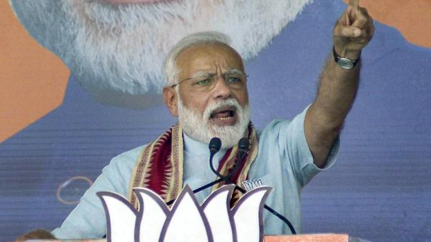 Prime Minister Narendra Modi addresses during 'Vijay Sankalp Samavesh' public meeting ahead of Lok Sabha elections, at Bhawanipatna in Kalahandi, Tuesday, April 02, 2019.(PTI file photo)