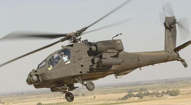 Indian Air Force is preparing to induct US-made Apache AH-64E attack helicopters, with the first batch of four choppers arriving in the country in July.(File photo)