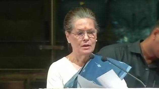 UPA chairperson Sonia Gandhi addressing People's Agenda - Jan Sarokar in New Delhi on Saturday.(ANI)