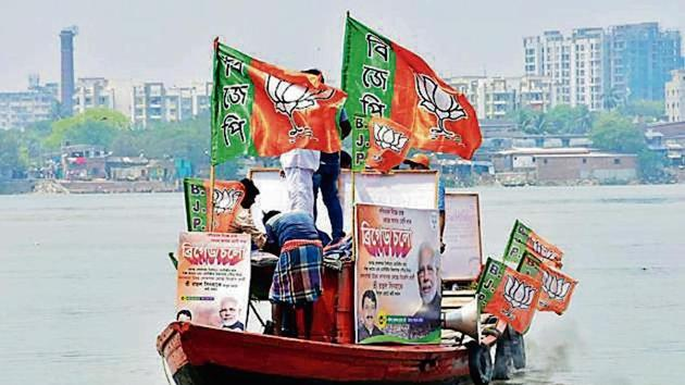 BJP's general secretary Kailash Vijayvargiya, joint organisational secretary Shiv Prakash, Arvind Menon and Suresh Pujari played pivotal a role in building the party in West Bengal(ANI Photo)