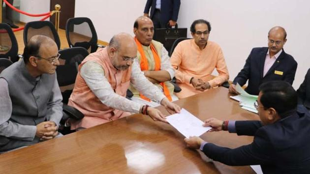 BJP National president Amit Shah filed his nomination from Gandhinagar Lok Sabha constituency on March 31.(ANI)