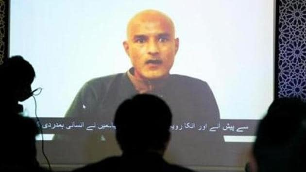 Former Indian navy officer Kulbhushan Sudhir Jadhav is seen on a screen during a news conference at the Ministry of Foreign Affairs in Islamabad, Pakistan December 25, 2017.(Reuters file photo)