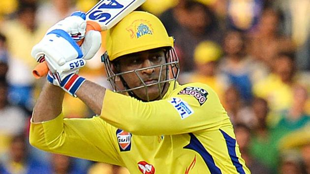 Chennai Super Kings captain Mahendra Singh Dhoni plays a shot during an IPL match.(AFP)