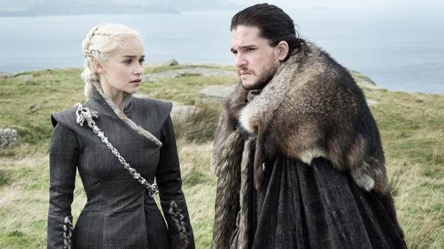 Emilia Clarke and Kit Harington play Daenerys Targaryen and Jon Snow, voted most likely to win the game of thrones, but not if you believe the myriad conspiracy theories.(Image courtesy HBO)