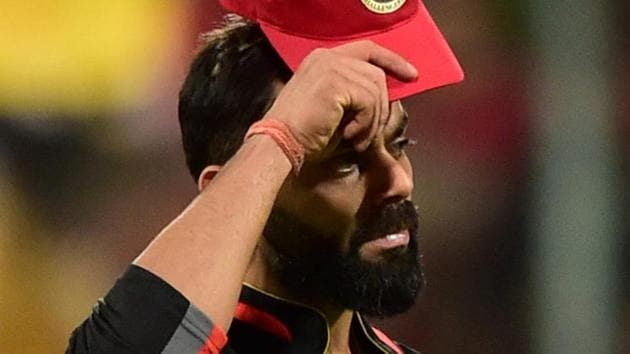 Bengaluru: Royal Challengers Bangalore (RCB) skipper Virat Kohli reacts during the Indian Premier League 2019 (IPL T20) cricket match between Royal Challengers Bangalore (RCB) and Kolkata Knight Riders (KKR) at Chinnaswamy Stadium in Bengaluru, Friday, April 5, 2019(PTI)
