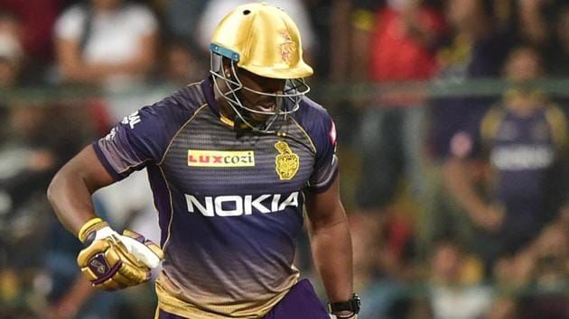 Kolkata Knight Riders (KKR) batsman Andre Russell celebrates after beating Royal Challengers Bangalore (RCB) on Friday.(PTI)