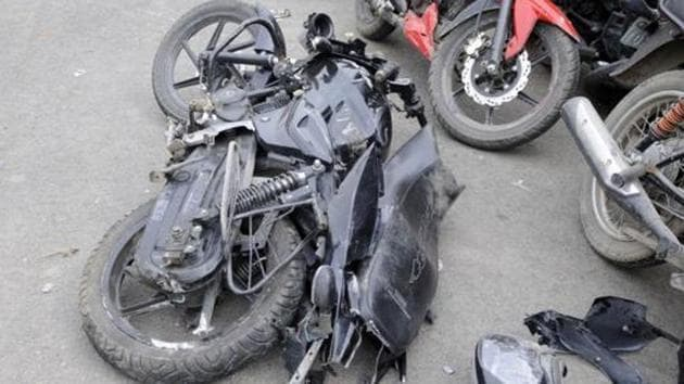 Two men on a two-wheeler were killed after colliding with a speeding container on early Friday morning at Mahalunge village.(PHOTO FOR REPRESENTATION PURPOSE ONLY)