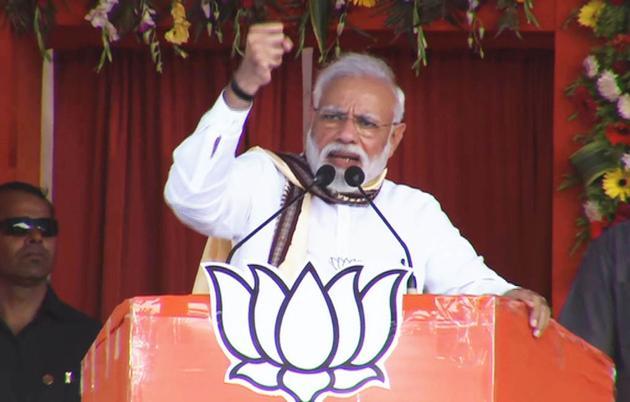 Prime Minister Narendra Modi addresses an election rally in Sonepur on Saturday.(ANI)