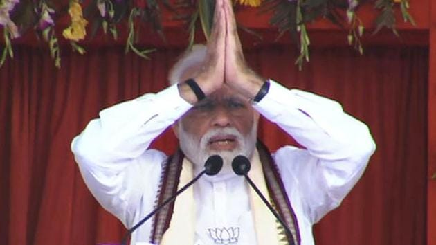 Prime Minister Narendra Modi addresses at an election rally at Sonepur in Odisha on Friday.(ANI)