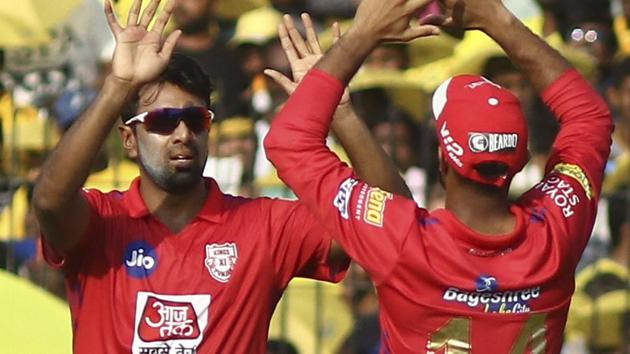 Kings XI Punjab captain Ravichandran Ashwin, left, celebrates with a teammate the dismissal of Chennai Super Kings' Shane Watson.(AP)