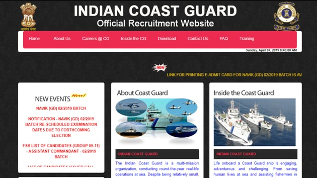 Indian Coast Guard Navik admit card 2019 released(Indian Coast Guard)