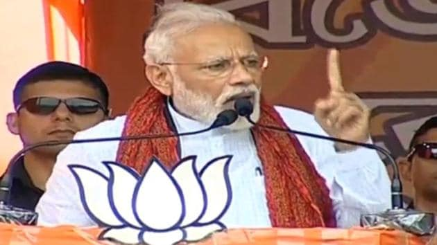 Pointing at a temporary structure that had been built at the venue of his rally, he said that the Mamata-Banerjee-led TMC government in West Bengal had made all attempts to stop the people from coming to attend the rally.(Screengrab)