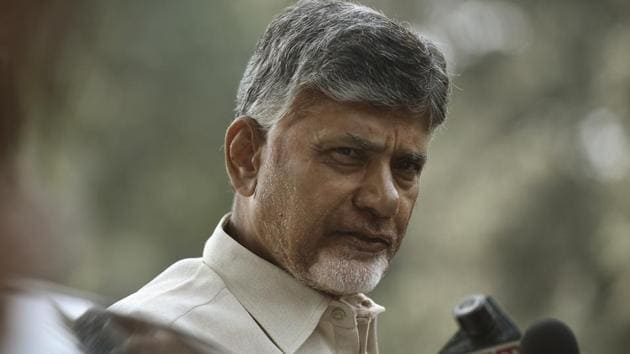 Andhra Pradesh Chief Minister N Chandrababu Naidu talks to media during a protest march demanding special status for his state from Andhra Pradesh Bhavan to Jantar Mantar in New Delhi, India, on Tuesday, February 12, 2019.(Raj K Raj/HT FILE PHOTO)