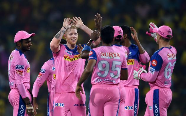 File image of Rajasthan Royals' players celebrating after the fall of a wicket.(PTI)