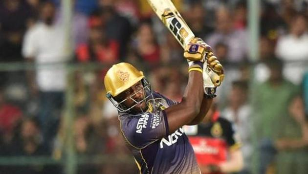 Bengaluru: Kolkata Knight Riders (KKR) batsman Andre Russell plays a shot during the Indian Premier League 2019 (IPL T20) cricket match between Royal Challengers Bangalore (RCB) and Kolkata Knight Riders (KKR) at Chinnaswamy Stadium in Bengaluru, Friday, April 5, 2019.(PTI)