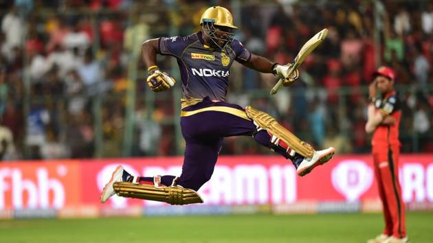 Bengaluru: Kolkata Knight Riders (KKR) batsman Andre Russell leaps in the air after beating Royal Challengers Bangalore (RCB) during the Indian Premier League 2019 (IPL T20) cricket match between Royal Challengers Bangalore (RCB) and Kolkata Knight Riders (KKR) at Chinnaswamy Stadium in Bengaluru, Friday, April 5, 2019.(PTI)
