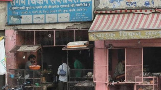 The Municipal Corporation of Gurugram (MCG) sealed 63 unauthorised meat shops across various locations in the city.(HT File Photo)