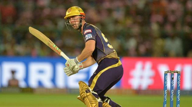 Kolkata Knight Riders cricketer Chris Lynn plays a shot during the 2019 Indian Premier League (IPL) Twenty20(AFP)