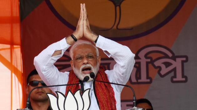 Prime Minister Narendra Modi, who is seeking re-nomination from Varanasi Lok Sabha constituency, will file his nomination papers on April 26.(ANI Photo)