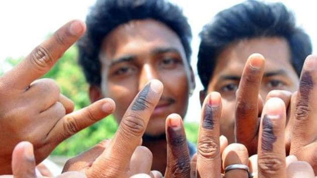 Ranchi, Jharkhand, INDIA – April 17: (FILE PHOTO) Rural first time voters happily showing their voting mark after casting their votes for 2nd phase election of Lok Sabha poll for Ranchi constituency at a polling booth at Rampur in Ranchi on Thursday April 17, 2014-PHOTO FOR REPRESENTATIONAL PURPOSE(Parwaz Khan-Hindustan Times)