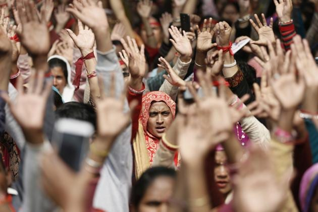Rather than perpetuating the myth that the women's reservation bill will soon be passed and a gender equitable political order will come about, it is better to aim much lower and push for political parties to at least chose some worthy candidates from the panchayati raj system and get them elected to state assemblies(Sanchit Khanna/HT PHOTO)