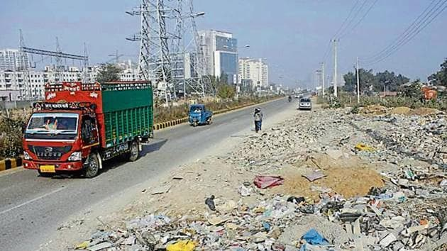 Construction and debris waste dumped in Sector 67 in February this year caused respiratory problems(HT File)