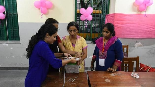 While just one both at the polling centre will be pink, the security staff for the polling centre will include male officials as well.(Arijit Sen/HT Photo)