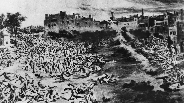 A narrow passage, which General Dyer used to make his way to the ground along with his soldiers, has been left intact with bullet marks on the walls of few structures and a well in the Jallianwala Bagh.(HT Archive)